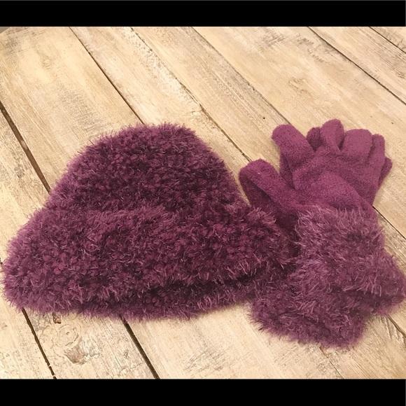 8c1e36640ef Cejon Accessories - Hat   Glove set amethyst purple beanie winter hat